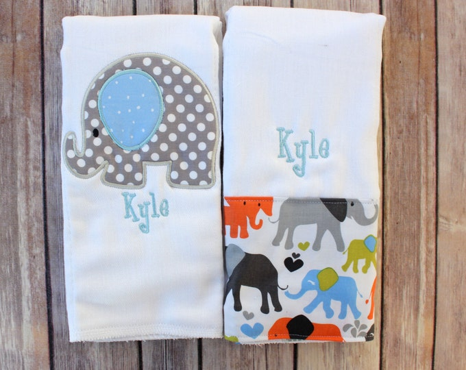 Personalized Baby Boy Burp Cloth - Elephant Burp Cloth with Monogram - Monogrammed Baby Boy Burp Cloth Set