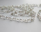 Extra long crystal necklace, wire wrapped, small faceted clear crystals