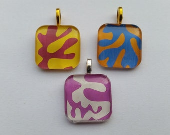Matisse Cut-outs - Panel With Mask - glass pendant and chain