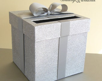 """Silver and Silver Wedding Card Box 9""""w x 9""""h  Choose Your Colors"""