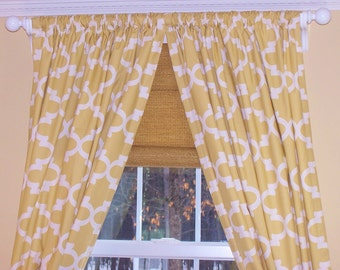 "Quatrefoil Curtains,Offwhite Curtains,Creamy Yellow Curtains, Custom Curtains,Pair Drapery Panels,Moroccan Curtains,24"" Wide,52"" Wide"