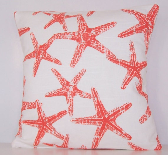 coral pillow cover euro various sizes sham starfish. Black Bedroom Furniture Sets. Home Design Ideas