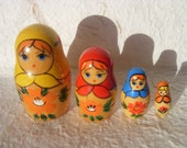 Vintage Russian Wooden Hand Painted Doll Matryoshka Made in USSR in 1970s