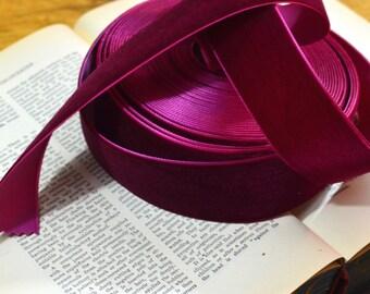 11 yard roll of dark fuchsia burgundy red velvet ribbon