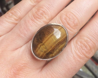 Tiger eye Gemstone Adjustable ring/ Boho jewelry/ Gemstone jewelry