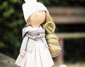Handmade fabric doll, custom made decorative doll, rag doll