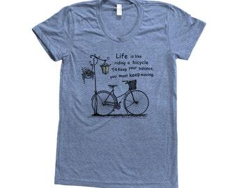 BICYCLE Shirt Women Custom Hand Screen Print Tri-Blend Short Sleeve Tshirt Available: S, M, L, XL