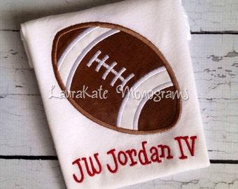 Football Applique Shirt, personalized, monogram, boy, onesie, baby, NFL, college