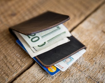 Ready to Ship - Minimal Front-Pocket Wallet - Horween Chromexcel Wallet in Black