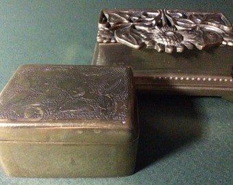 Brass Stamp Boxes Two Vintage