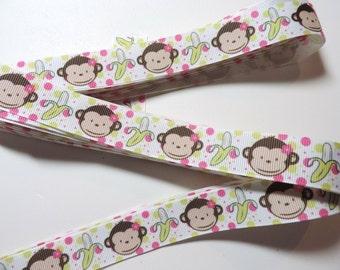Girl Monkey grosgrain ribbon - 2 yards