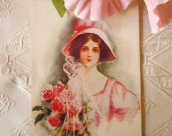 Bonnet Girl with Roses Antique Postcard