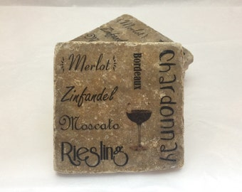 Personalized Coasters, Textured Stone Tile, Wedding Gift, Wine Themed Coasters Set of 4