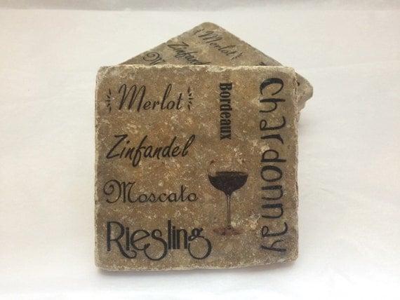 Personalized Coasters Wedding Gift: Personalized Coasters Textured Stone Tile Wedding Gift Wine