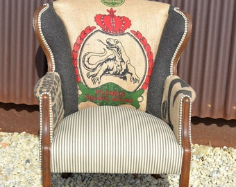 Custom Upholstered Vintage Accent Arm Chair with Coffee Sack Burlap Jute