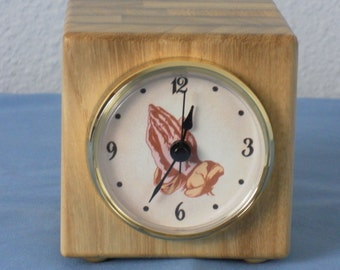 Cube clock large size with praying hands pictured on clock
