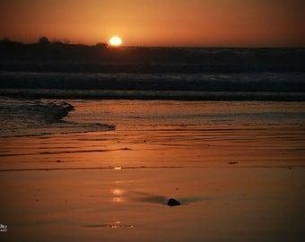 "Fine Art Photo - Title: ""Pacific Dusk"" - landscape, california, moonlight beach, SoCal, sunset, peaceful, ocean, pacific, orange, sunlight"