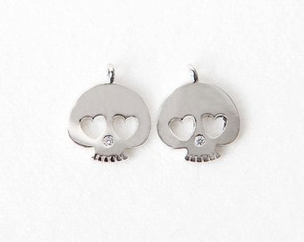3036062 / Heart Eyed Skull / Rhodium Plated Brass with Cubic Pendant 11.8mm x 14.4mm / 1g / 2pcs