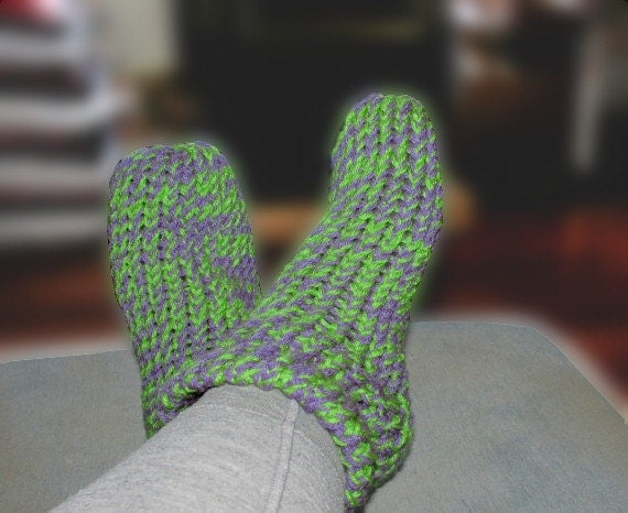 Loom Knitting Slippers : Purple and green loom knitted slipper socks ladies size to
