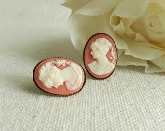 Cameo earrings,Shabby chic jewelry,Post earrings,Cameo jewelry,Unique gift