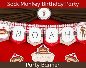 Sock Monkey Party Banner | Sock Monkey Birthday Banner | Sock Monkey Decorations