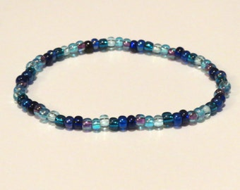 Blue Rainbow Bracelet made from Seed Beads and stretch cord