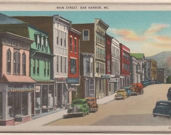 """Bar Harbor,ME-Main St.- 8x10"""" Enlargement of 1930's Post card"""