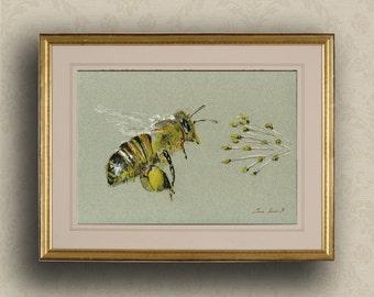 PRINT-Bee Honey insect art drawing  print watercolor painting art wall insect - Bee Art -Art Print by Juan Bosco