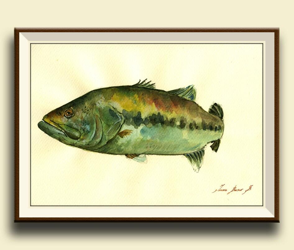 Print Black Bass Fish Fishing River Fly Fishing Art Wall Decal
