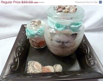 Clearance sale bathroom jar set hand painted bath salt for Salt bath for fish