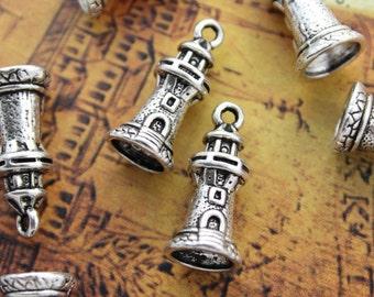 Bulk 40 Lighthouse Charms Lighthouse Pendants Antiqued Silver Tone 3D 10 x 17 mm