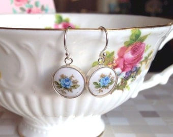 Sterling Silver Floral Earrings, Dangle Earrings with Blue Rose Cameo