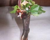 For Richie Shaw order -Cowboy boot -FLOWER ARRANGEMENT Vintage Copper Cowboy boot with glass rosettes