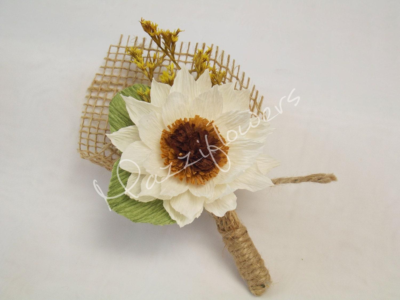 Wedding Boutonnierebridal Boutonniere Paper Flowercorsagebridal