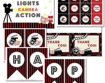 Movie Theme Birthday Collection-By Sweet Willow Designs