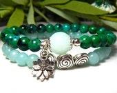 Amazonite Bracelet, Beaded Bracelet, Calming Bracelet, Lotus Charm Bracelet,Teal Bracelet, Blue Green, Yoga Bracelet, Gemstone Bracelet