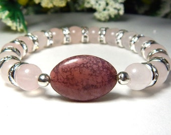 Pink Beaded Bracelet, Pink Bracelet, Gemstone Bracelet, Pink Boho Bracelet, Rose Quartz Bracelet, Pink Bead Bracelet, Pink Beaded Jewelry