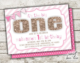Baby Girl Pink & Gold Ombre Custom Birthday Invitation - Printable Invite - First 1st Birthday One - Chalkboard - Polka Dot Chevron Flags