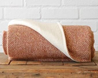 Orange and Cream Wool Knit Blanket