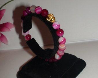 Handmade bracelet..Stretch bracelet.Womens jewelry.Natural stone Magenta Stripe Agate bead bracelet.Buddha bracelet