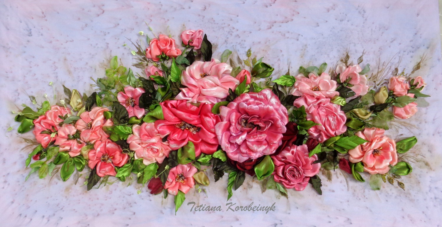 Picture rose richness silk ribbon embroidery