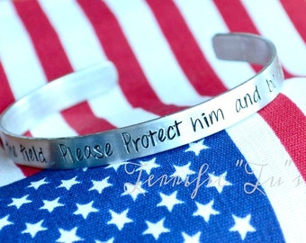 Be His Shield- Personalized Hand Stamped Cuff Bracelet