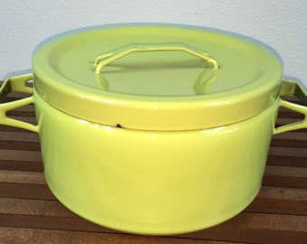 Vintage Citrus Green Seppo Mallat Cook Pot / Dutch Oven