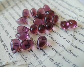 Beads, Purple, Teardrop, Glass, 7mm, Jewelry Making. Filler, Spacer, Accent, Craft Supplies, Destash