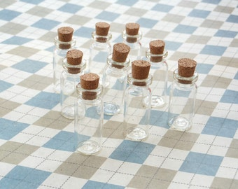100 Mini glass bottles with corks 12x31mm