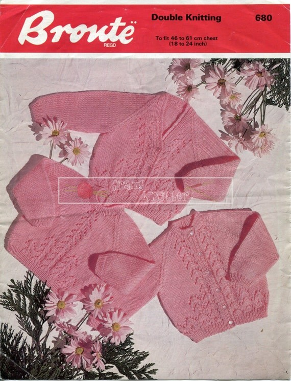 "Baby Cardigans and Sweater DK 18-24"" Bronte 680 Vintage Knitting Pattern PDF instant download"