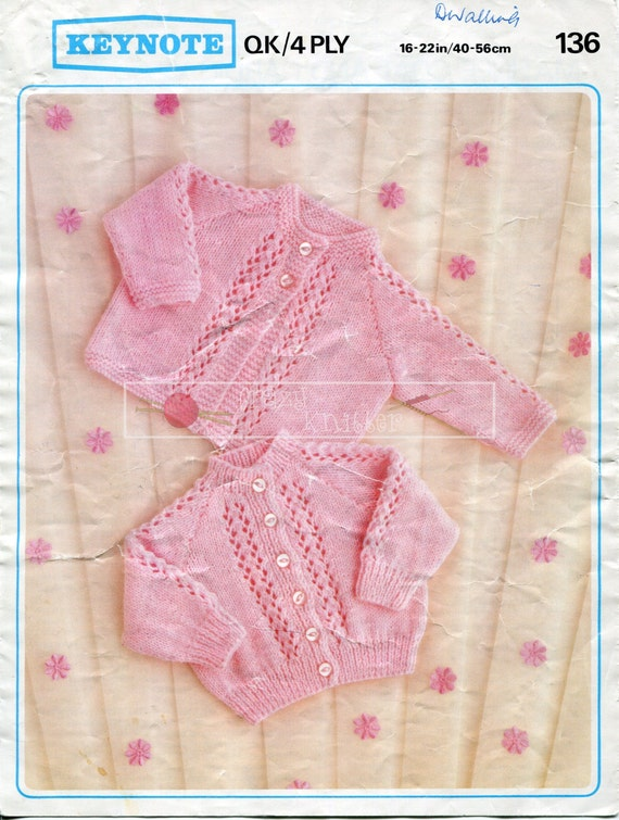 "Baby Matinee Coat and Cardigan 4ply DK 16-22"" Keynote 136 Vintage Knitting Pattern PDF instant download"