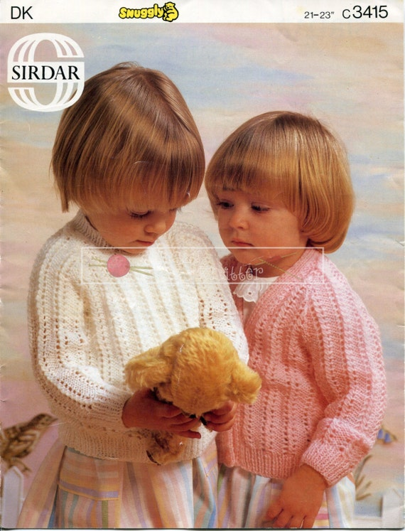 "Girl's Sweater and Cardigan DK 21-23"" Sirdar 3415 Knitting Pattern PDF instant download"