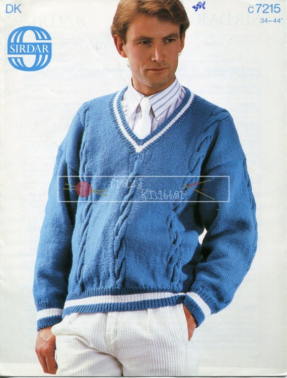 Mens V Neck Cable Sweater DK 34-44in Sirdar 7215 Knitting