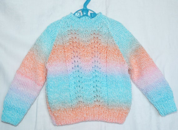 Hand Knitted Baby Girl's Sweater Pastel Rainbow Coloured DK Yarn to fit chest 20ins 18 months